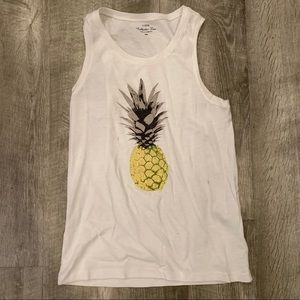 White J Crew tank with pineapple